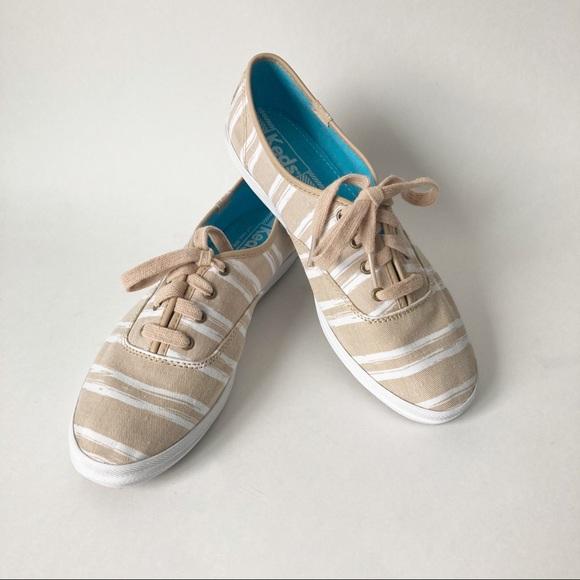 Keds Sand & White stripe tennis shoes
